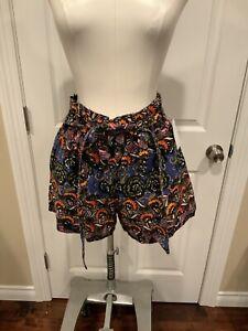 Zara Trafaluc Multi-Color Floral Patterned Shorts W/ Belt, Size Medium