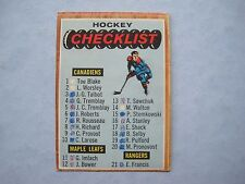 1966/67 TOPPS NHL HOCKEY CARD #66 FIRST CHECKLIST EX- SHARP!! 66/67 TOPPS