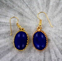 Lapis Lazuli Gemstone Earrings in 14kt  rolled gold with French Hooks