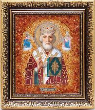 Bernstein Russische Orthodoxe Ikone mit echtem Bernstein, Amber, Янтарь, Икона