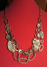 Chain Link Necklace 27 Inches Nwt Ruby Rd. Hammered Silver Disk and