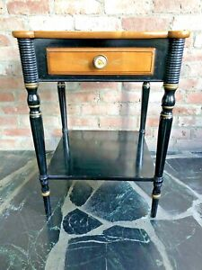 L.Hitchcock~SIGNED STENCILED BLACK SHERATON 1 DRAWER+SHELF SIDE TABLE~Exc.Cond.