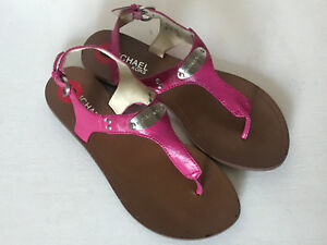 NEW! MICHAEL KORS MK PLATE THONG ELECTRIC PINK SANDALS SHOES 6 36 $120 SALE