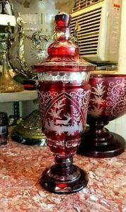 Vintage Huge Red Bohemian Leaded Cut-to-Clear Chalice with Lid, XIX C.