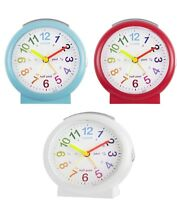 Acctim Lulu2 Red Blue White Time Teaching Quiet Sweeping Second Hand Alarm Clock