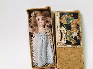 "All bisque Antique German Mignonette 4.25"" Doll W/Sleepy Eyes & Original Box!!"