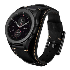 Samsung Galaxy Watch 46mm S3 Frontier/Classic Bands Genuine Leather Cuff Strap