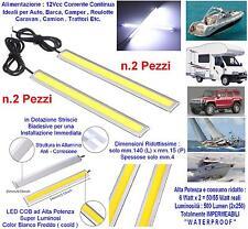 N.2 MINI PLAFONIERA mm.140x15x4 LED COB BIANCHI 2x6W 12V IP68 AUTO BARCA CAMPER