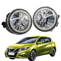 LED Fog Light + Angel Eye Rings Daytime Running Lights DRL Fit For Nissan Tiida