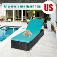 Outdoor Adjustable Chaise Lounge Chair Wicker Rattan Sofa w/ Cushions Furniture