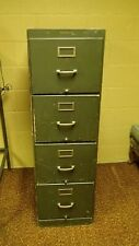 Shaw-Walker Vintage Antique Wood Filing Cabinet Green Wooden