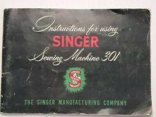 New ListingVtg Original Singer 301 Sewing Machine Owners Instruction Manual Copyright 1953