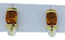 Lorenzo LZE019-CT Women's Sterling Silver 18K Citrine Half Huggie Earrings 3/4""