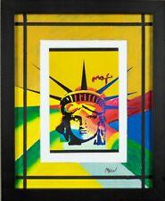 Peter Max Liberty Art Print Heavy Stock Hand Painted Mat Signed COA Framed