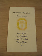 "Vintage 1933 COMMENCEMENT Program~""OROSI Union High School""~CA~Ephemera~"