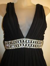 Sky Brand S Maxi Dress $190 Black Rhinestone Crystal Formal Evening Party Sexy
