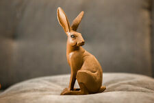 Carved Wood Effect Sitting Hare Statue Rustic Rabbit Ornament Home Decor Figure