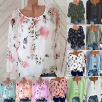 Women Boho V Neck Long Sleeve Blouse Baggy Top Ladies Casual Loose T Shirt S-5XL