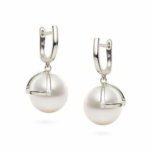 5A 10.8mm Flawless Round White Pearl Drop Earrings 18k White Gold Diamonds