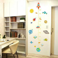 Rocket Space Kids Height Chart Home Baby Planets Room Decor Measure Wall Sticker