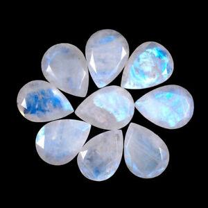 9 Pcs Natural Rainbow Blue Moonstone 16mm/12mm Pear Top Quality Gemstones Lot