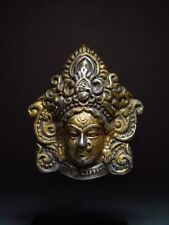AN EXOTIC SILVER-BRONZE MASK of the GODDESS 'DURGA' NECKLACE PENDANT 19/20th C.