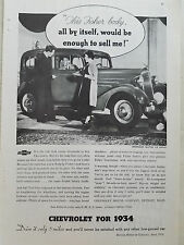 1934 Chevrolet Master Six Sedan Car Fisher Body  Original Ad