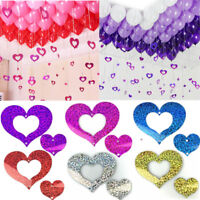 100x Plastic Sequins Love Heart Pendants For Balloon Weights Wedding Party Decor