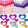 100Pcs Sequins Card Love Heart Pendants For Balloons Weights Wedding Party Decor