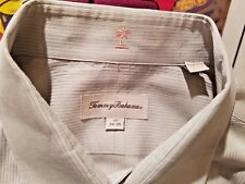Tommy Bahama Men's Dress Shirt L 17 34-35 Beige Long Sleeve Cotton Dry Cleaned