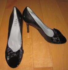 New BCBG Paris Wm Black Patent-Leather Look Open Peep Toe Heels 8 Eur 38