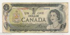 1973 Bank of Canada One Dollar Bank Note ~ IU1784095 ~ Ottawa