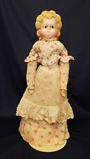 Antique German Wax Over Papier Mache Doll w/ Glass Eyes & Original Clothes