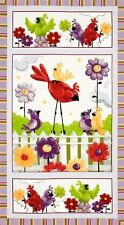 World Of Susybee Happy Birds Fabric Wall Hanging Panel Cotton Flowers Baby Child