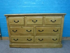 DOVETAILED SOLID WOOD WIDE 7DRAWER CHEST H88 W141 D43cm- VISIT OUR WAREHOUSE