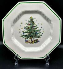 "Nikko Christmastime Octagonal Christmas Tree Dinner Plate Japan 10 3/4"""