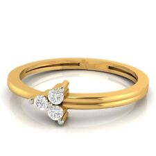 Gorgeous 0.24 Cts Round Brilliant Cut Diamonds Three-Stone Ring In Fine 14K Gold