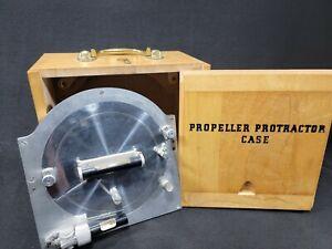 Vintage War Surplus Propeller Protractor With Box Case Very Nice PN 36D2844