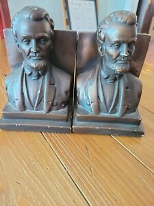 """Bookends Marwal Lucchesi Abraham Lincoln Vintage Heavy 7 1/2"""""""