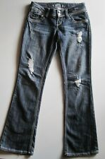 Almost Famous Distressed Stretch Jeans Juniors Size 9 Low rise Bootcut 32X32
