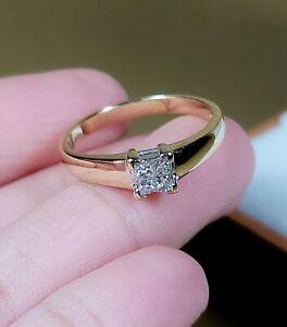 1/8 Carat Round DIAMOND 10K YELLOW Gold Promise Cluster Princess Ring SZ 7