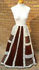 New listing Hippy Prairie Patchwork Maxi Skirt Velvet Paneld Vtg 70s Broomstick Peasant Lace