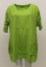 LA BASS WOMEN'S SPRING SUMMER LINEN CROCHET LACE PULLOVER TOP LIME PLUS SIZE 2