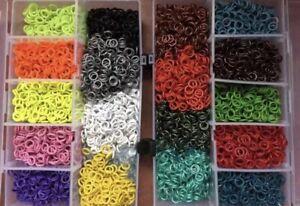 100 St. Taubenringe Kunststoffringe Gummi Ringe verschidene Farben