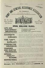 1903 Imprimé ~ Annonce Annonce Armée & Général Assurane Association