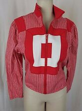 Vintage Ayako Designer Canvas Railroad Stripe Geometric Jacket Womens S M Red