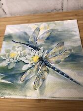 4 Shabby Chic Decoupage Napkins Botanical Dragonflies And Water Lily Pads
