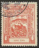 Fiume 1942 Fiumano Kupa Revenue 1L Red Barefoot #81 Fine Used