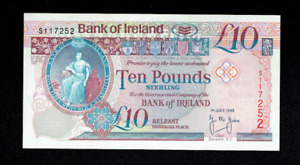 RARE 1995 BANK OF IRELAND 10 TEN POUNDS BANKNOTE BELFAST NORTHERN IRISH DUBLIN