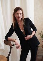 NWT Sézane Sezane Sarina Jacket Blazer Black Fully Lined Hook Eye Sz 36 US 4